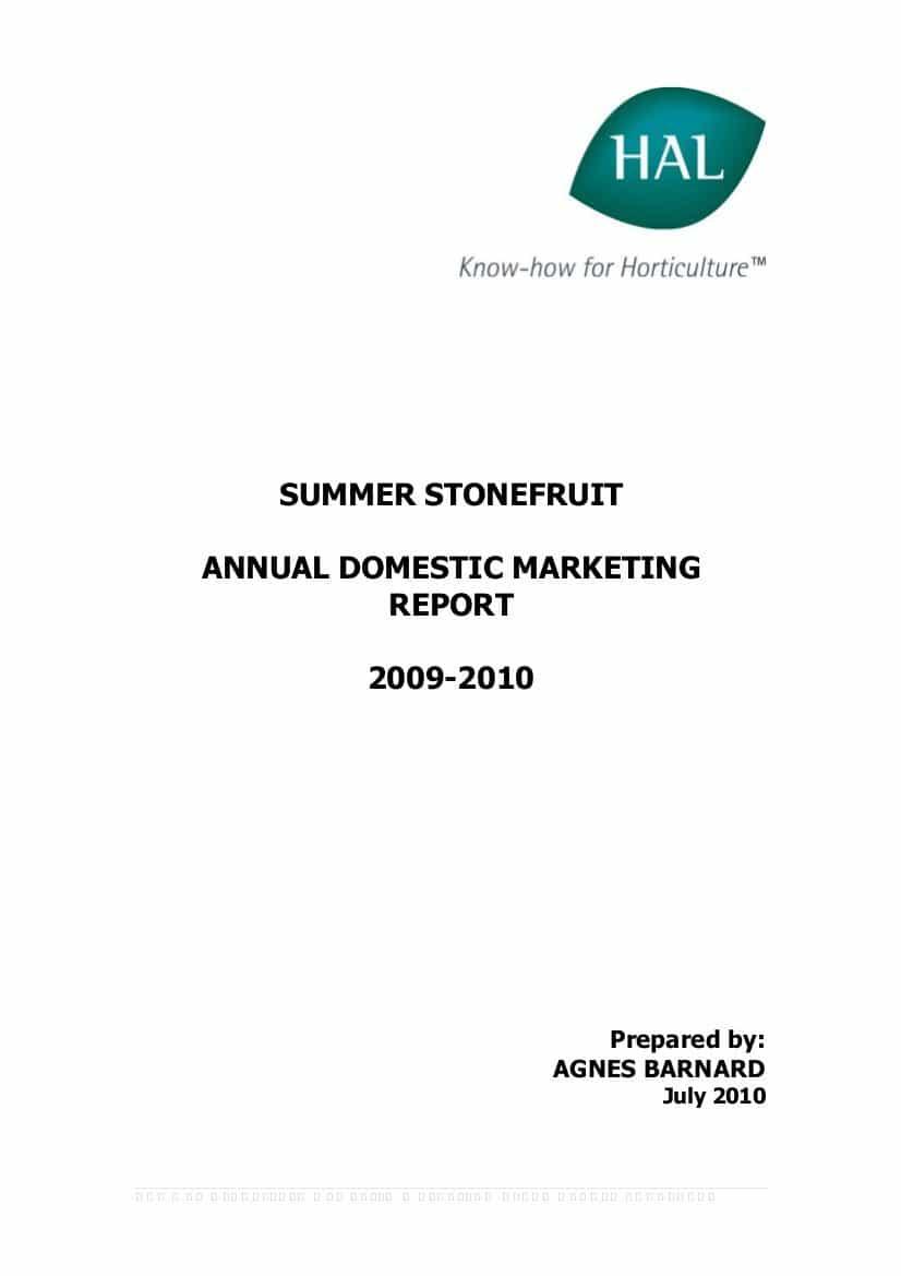 Annual Domestic Marketing Report 2009 - 2010