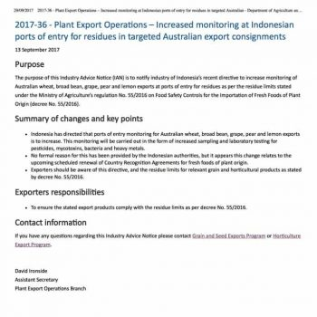 2017-36 - Plant Export Operations – Increased monitoring at Indonesian ports - Australian Government