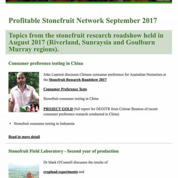 Profitable Stonefruit Network Newsletter - September 2017 - Summerfruit Australia