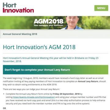 Hort Innovations AGM Aug 2018 update - Nov 2018 event