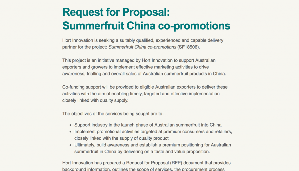 Summerfruit China co-promotions - Horticulture Innovation - New Opportunity - Summerfruit Australia