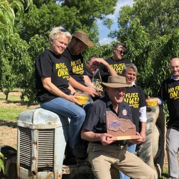 Project Representatives with Goulburn Murray Valley Regional Fruit Fly Coordinator Ross Abberfield with the 2019 Victoria Regional Achiever of the Year Award